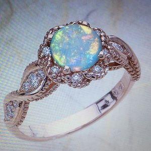 18K Rose gold filled opal ring size 6